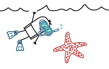 diver & starfish