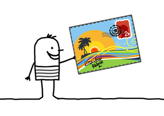man & postcard