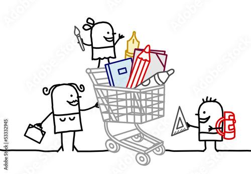 shopping cart & school supplies