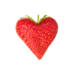 Sweet strawberry in heart-shaped isolated on white