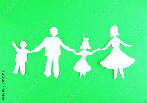 Paper people on color background