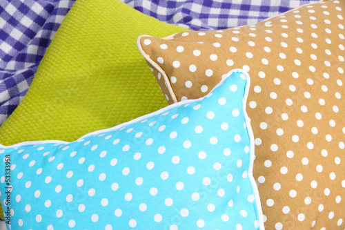 Three various pillows close-up