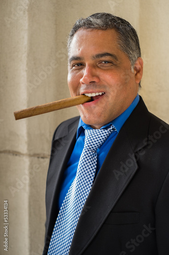 Handsome cigar smoker