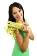 Girl with fresh celery isolated on white