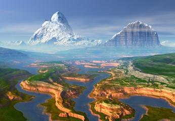 Mountain Fantasy Landscape - Computer Artwork
