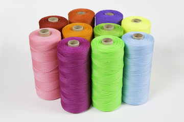 Rolls of colorful polyester rope - close up