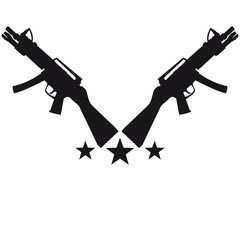 Assault Rifle Gun Stars Design