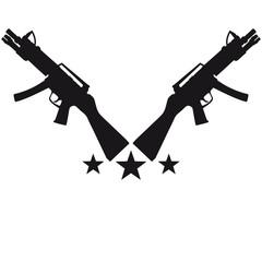 Assault Rifle Gun Stars Design