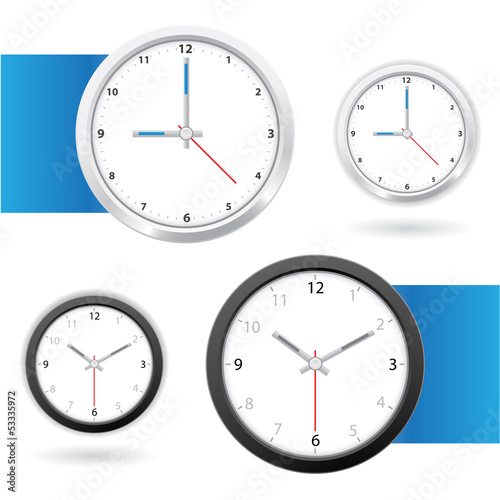 Black and white clock face in vector