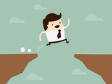 businessman jump through the gap