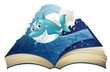 A book with a smiling blue shark and waves