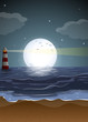 A beach with a lighthouse and a fullmoon