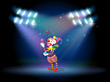 A clown juggling balls in the stage