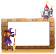 A witch with a broomstick in front of an empty template