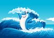 A blue shark and the sea waves