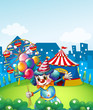 A clown at the carnival with balloons