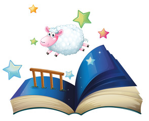 A book with a sheep jumping