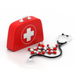 First aid kit on white background..