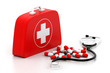 First aid kit on white background.
