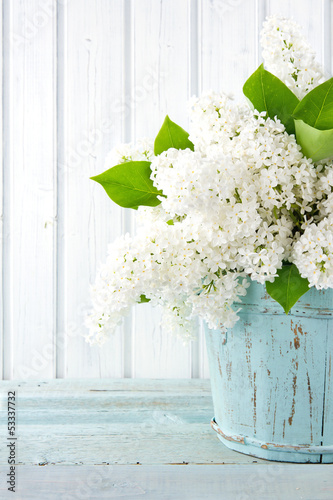 White lilac spring flowers in a blue vase
