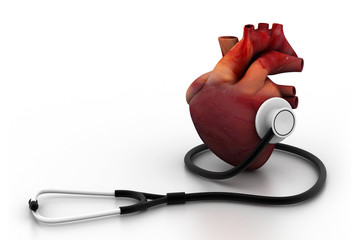 Human heart and stethoscope.