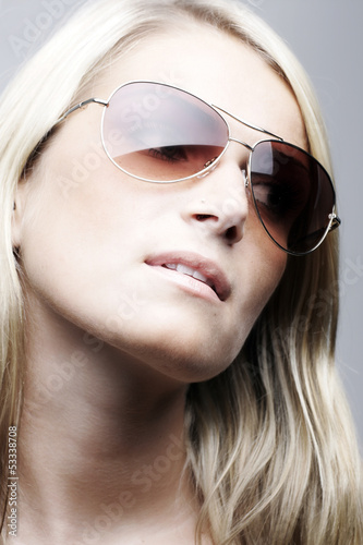 Beautiful model wearing sunglasses