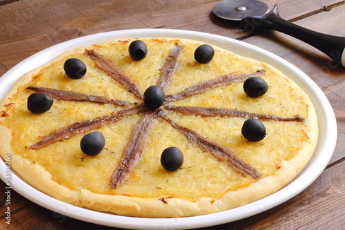 Pissaladière with onion, black olives and anchovies