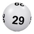 Loto, boule blanche numéro 29