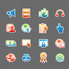Web technology color icon set vector illustration