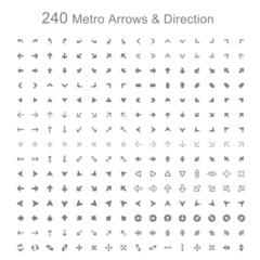 Mono color Metro arrows and direction vector illustration