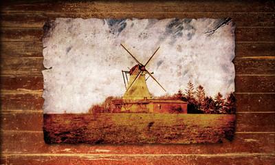 Holzplakat - Mühle