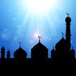 Mosque Silhouette with Sunburst