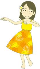 フラダンス パウスカート 黄色