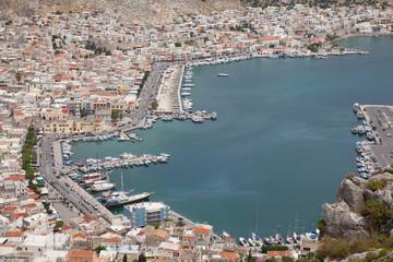 Blick auf den Hafenort Pothia, Kalymnos