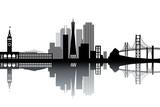 Fototapety San Francisco skyline - black and white vector illustration