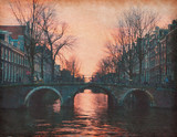 Evening in Amsterdam, Netherlands .  Paper texture.