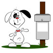 A cartoon dog next to a litter bin with copy space
