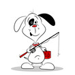A cartoon dog with fishing rod and basket