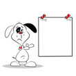 A sad cartoon dog pointing to a blank poster with copy space