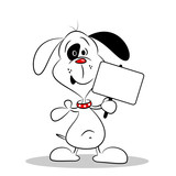 A cartoon dog holding a blank placard with copy space