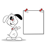 A happy cartoon dog pointing to a blank poster with copy space