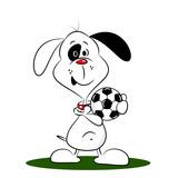 A cartoon dog holding a football on a white background