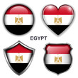 Egypt flag icons, vector buttons.