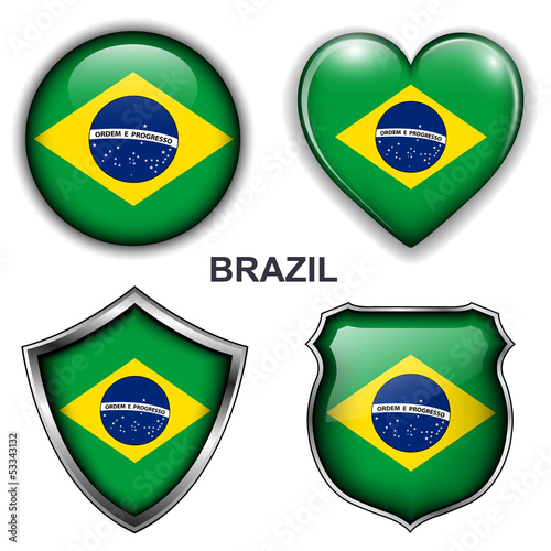Brazil flag icons, vector buttons.