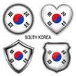South Korea flag icons, vector buttons.