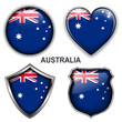 Australia flag icons, vector buttons.