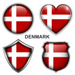 Denmark flag icons, vector buttons.
