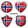 Norway flag icons, vector buttons.