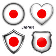 Japan flag icons, vector buttons.