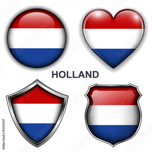 Holland flag icons, vector buttons.